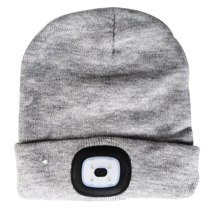 Cepure ar LED gaismu, pelēka