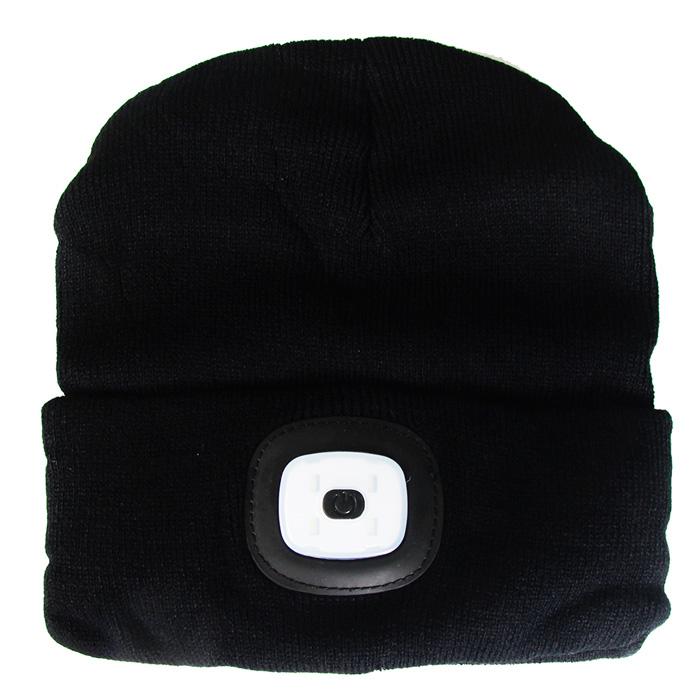 Cepure ar LED gaismu, melna