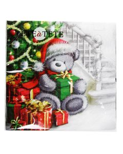 Salvetes 33x33cm Christmas Bear with Gifts